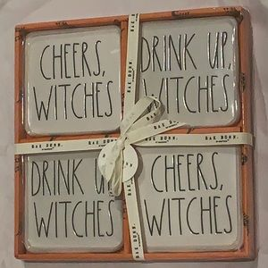 Rae Dunn Coasters cheers witches drink up !!